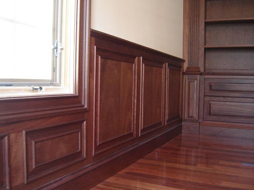 Custom Mahogany Home Office With Wainscoting And Beam