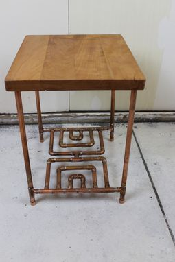 Custom Made Cherry & Copper Pipe End Table
