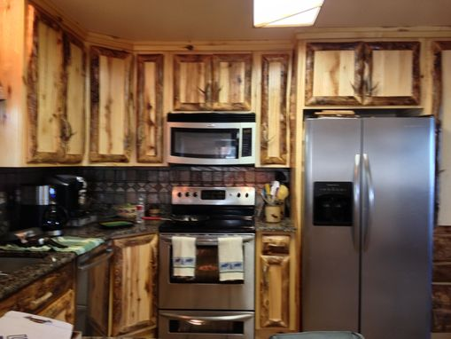 Custom Made Rustic Aspen Log Kitchen Cabinets And Built In Wall Spice Rack