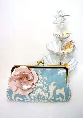 "Custom Made Blue Damask Bridal Clutch Purse ""Something Blue"""
