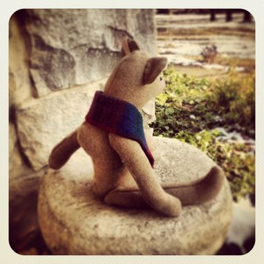 Custom Made Jointed Bear Traditional Style /Made From Vintage Wool Blanket /Hand Stitched Details /Heirloom