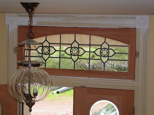 Custom Made Transom Leaded Glass Window With Mouth Blown Glass And Jewels