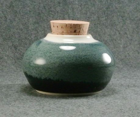 Custom Made Large Loose Leaf Tea Jar Black Blue And White Corked