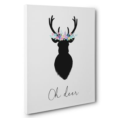 Custom Made Floral Oh Deer Canvas Wall Art