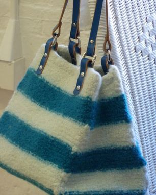 Custom Made New For Spring. Teal And Off-White Striped Tote With Matching Leather Handles