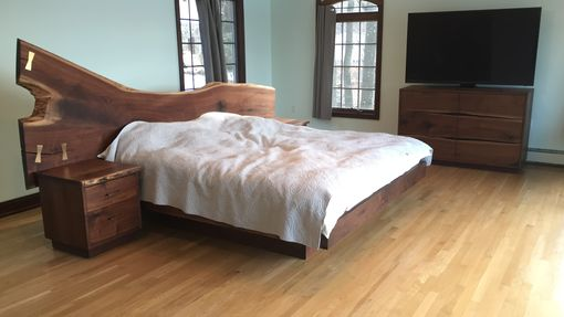 Custom Made Natural Edge Walnut Bed Set