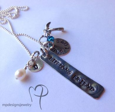 Custom Made Life Long Friend Sterling Silver Stamped Charm Necklace