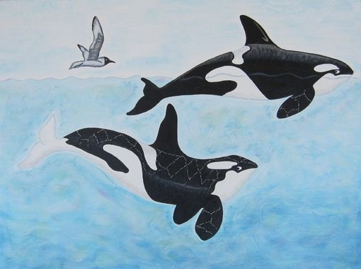 Custom Made Orca Whale Sea Creatures Art For Nursery / Kids Room / Playroom Wall Art