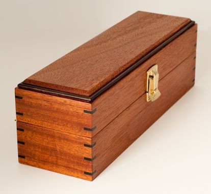 Custom Made Champagne Box - African Mahogany, Ebony, Brass Quadrant Hinges & Clasp