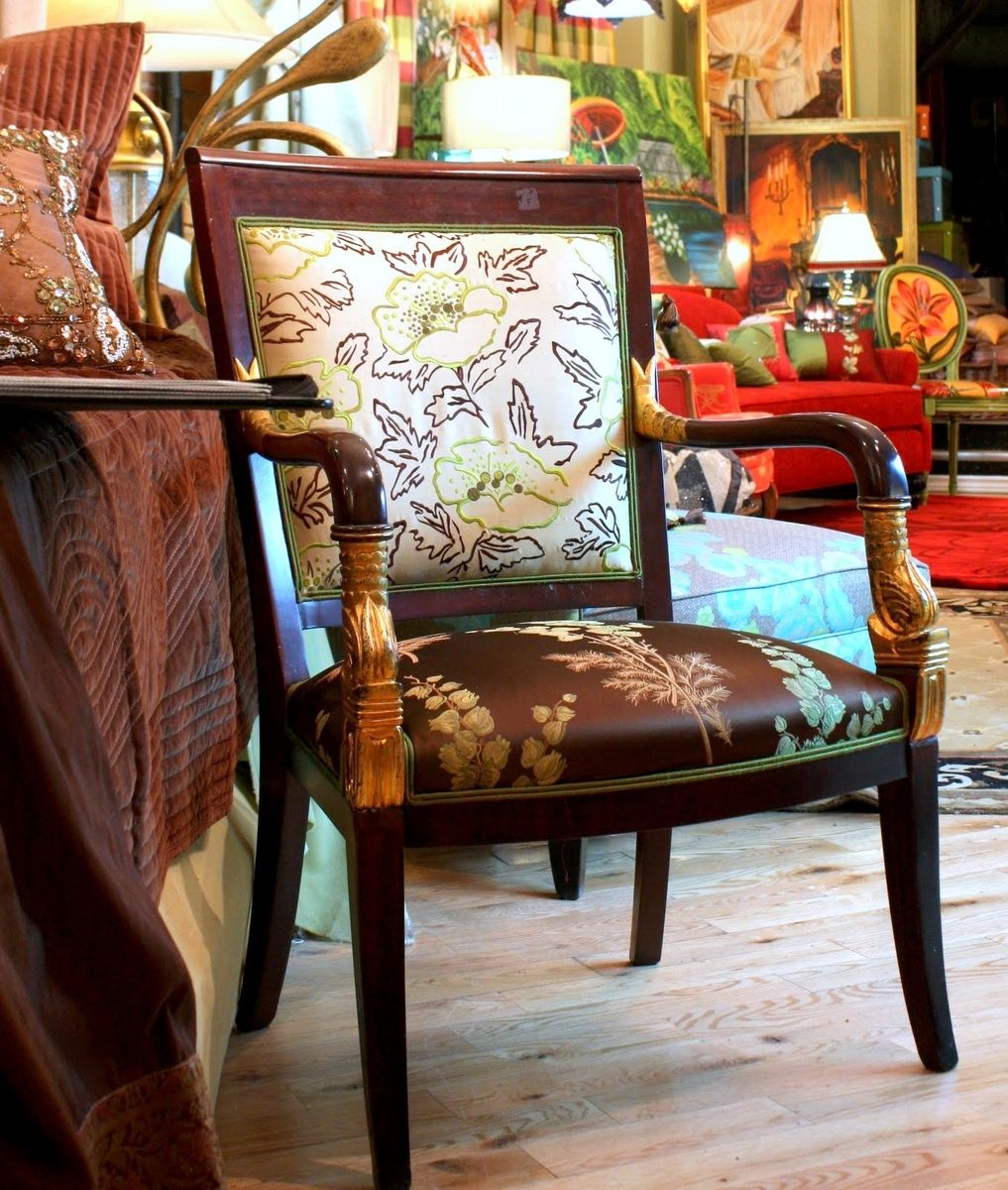 Hand Made Upholstered Vintage Chairs In Designers Guild