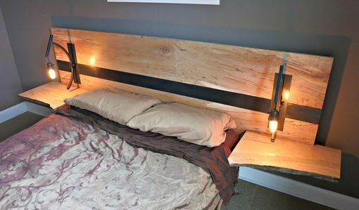Custom Made Spalted Maple And Steel Head Board With Handmade Lights