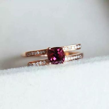 Custom Made 0.76 Carat Rhodolite Garnet Ring In 14k Rose Gold