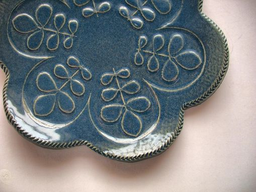 Custom Made Set Of Two Daisy Navy And Rose Spoon Rests