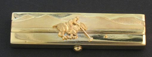 Custom Made Polo Player Karat Gold Toothpick & Case
