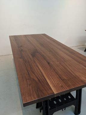 Custom Made (Free Shipping) Modern Mid-Century Walnut Table With Beveled Edge On Steel Starburst Frame