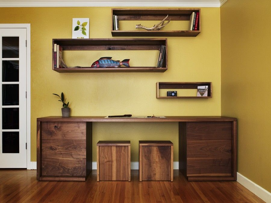 Hand Crafted Walnut Desk Shelves And Stools By Anand