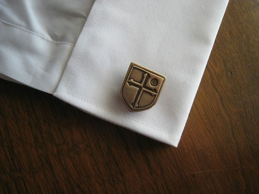 Custom Made Golden Bronze Cuff Links Cufflinks With Custom Designed Crest
