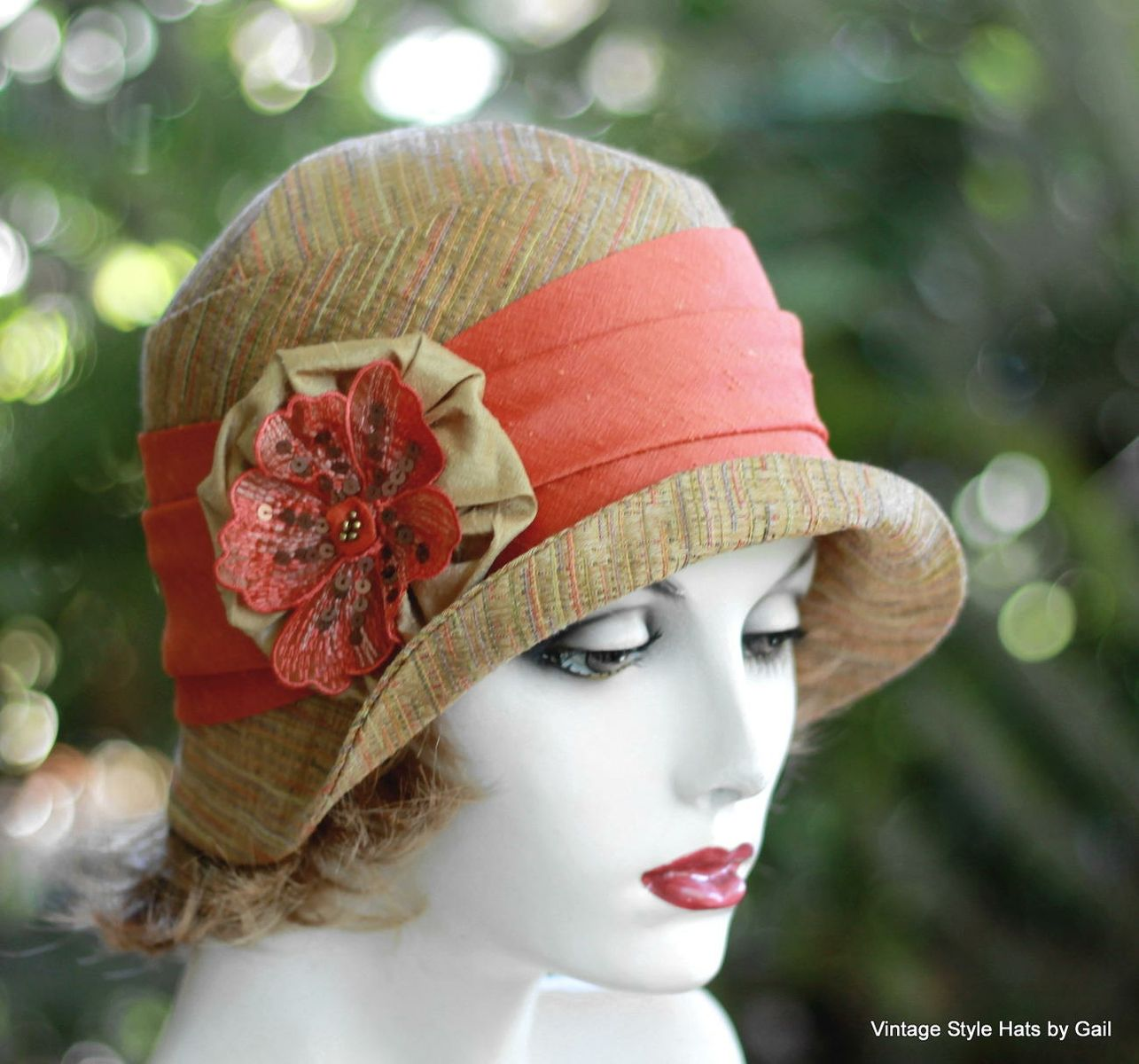 Hand Crafted Womens Cloche Hat 20 S Style In Earth Tones