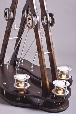 Custom Made Custom Industrial Contemporary Eclectic Shelf Table Light Sculpture Art