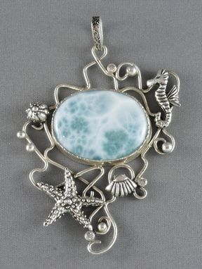 Custom Made Silver Pendant With A Big Larimar, Seahorse And Starfish