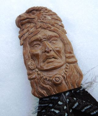 Custom Made American Indian Carving  Fossil Mammoth Bookmark