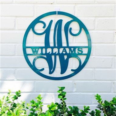 Custom Made Circle Vine Monogram Sign - Family