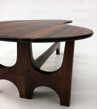Custom Made Coffee/Cocktail Table With Trident Base Made Of Solid Walnut - Kidney Bean Shaped