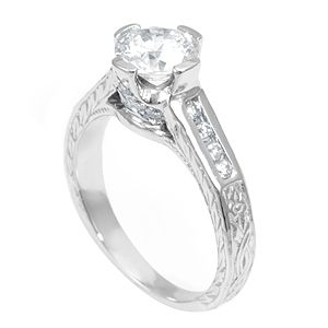 Custom Made Engraved Antique Inspiration Diamond Engagement Ring With Cz Center Stone