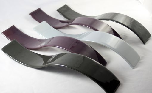 Custom Made Purple And Gray Wave Fused Glass Wall Art