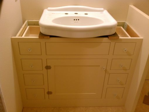 Custom Made Bath Cabinet For Pedestal Sink By Artisan Woodcraft Inc Custommade Com