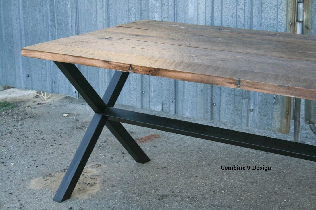 Vintage Industrial Dining Room Table. Custom Made Rustic Reclaimed Wood Dining Table  Minimalist Urban Steel Buy a