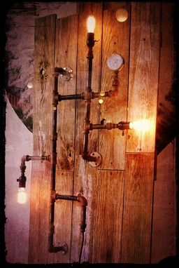 Custom Made Up-Cycled Industrial Gas Pipes Wall Light Sculpture