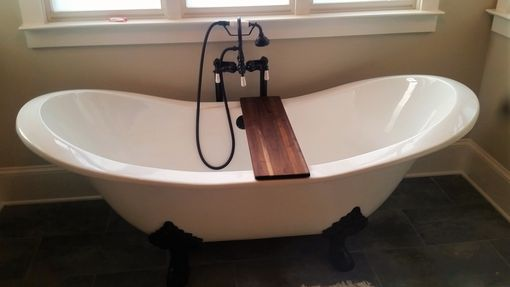 Custom Made Bathtub Caddy In Edge Grain Black Walnut