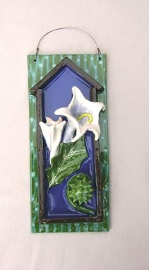 Custom Made Trumpet Flower Wall Plaque, Ceramic 3-D Tile.