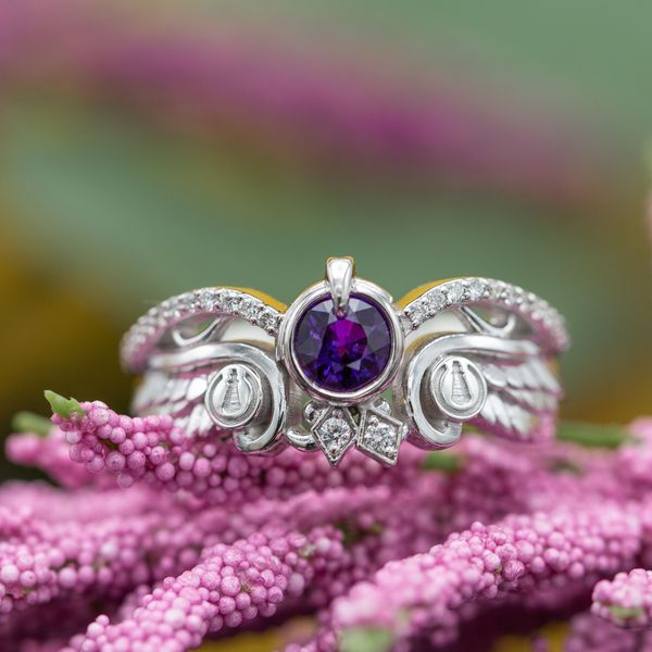 A one-of-a-kind purple sapphire engagement ring we designed with inspiration from the No Game No Life anime series.