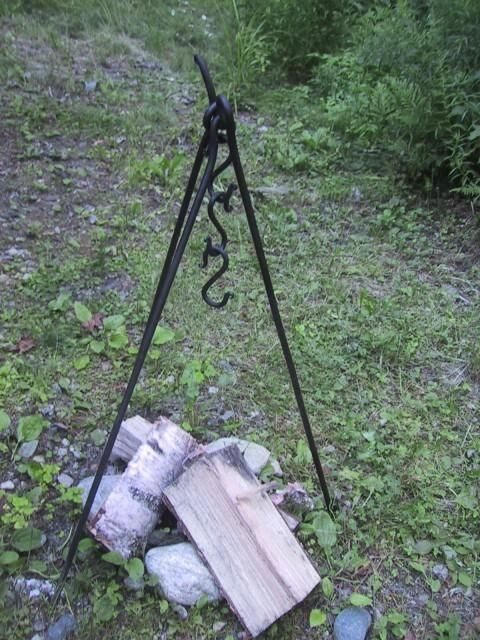 Custom Made Forged Iron Camp Fire Cook Set