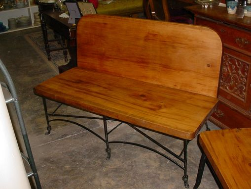 Custom Made Repurposed Lawn Set 1 Board Cypress Back & Seat With Iron Base