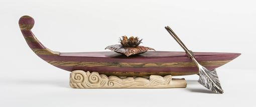 Custom Made Hand Carved Wood And Bronze Lotus Boat Sculpture