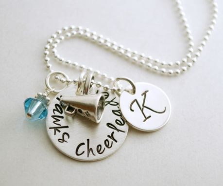 Custom Made Personalized Hand Stamped Sterling Silver Cheerleading Necklace With Megaphone Charm