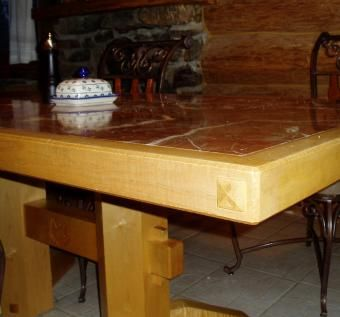 Custom Made Marble And Maple Kitchen Table