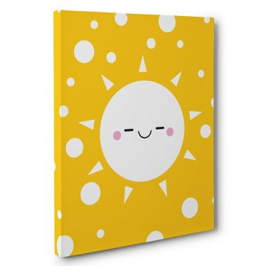 Custom Made Happy Sun Nursery Canvas Wall Art
