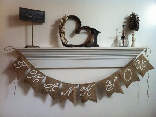 Custom Made Hand Painted Burlap Thank You Banner