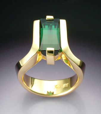 Custom Made 18k Gold Woman's Ring With Opposed Bar Cut Green Tourmaline