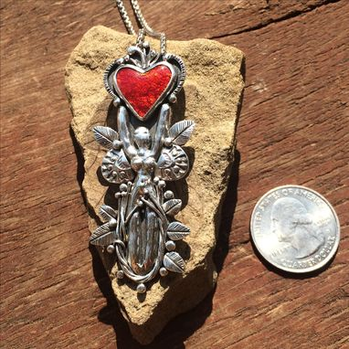 Custom Made Warrior Woman Necklace, Goddess Necklace, Red Enamel Heart Necklace