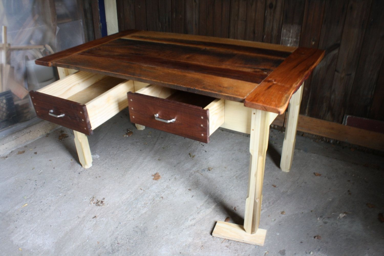 Reclaimed Wood Table ~ Custom reclaimed wood kitchen table by honeybadger