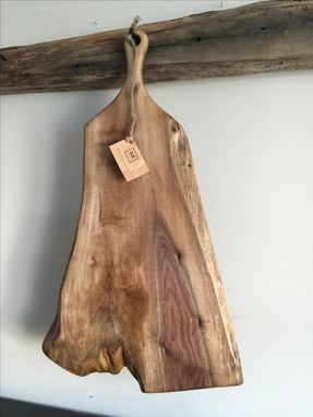 Custom Made The Sophia Cutting Board - Extra Large Live Edge Walnut Cutting/Serving Board With Long Handle