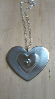 Custom Made Sterling Silver , 18k Gold And Aquamarine Heart Necklace
