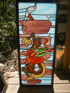 Custom Made Four Panels Stained Glass Room Screen By July 30