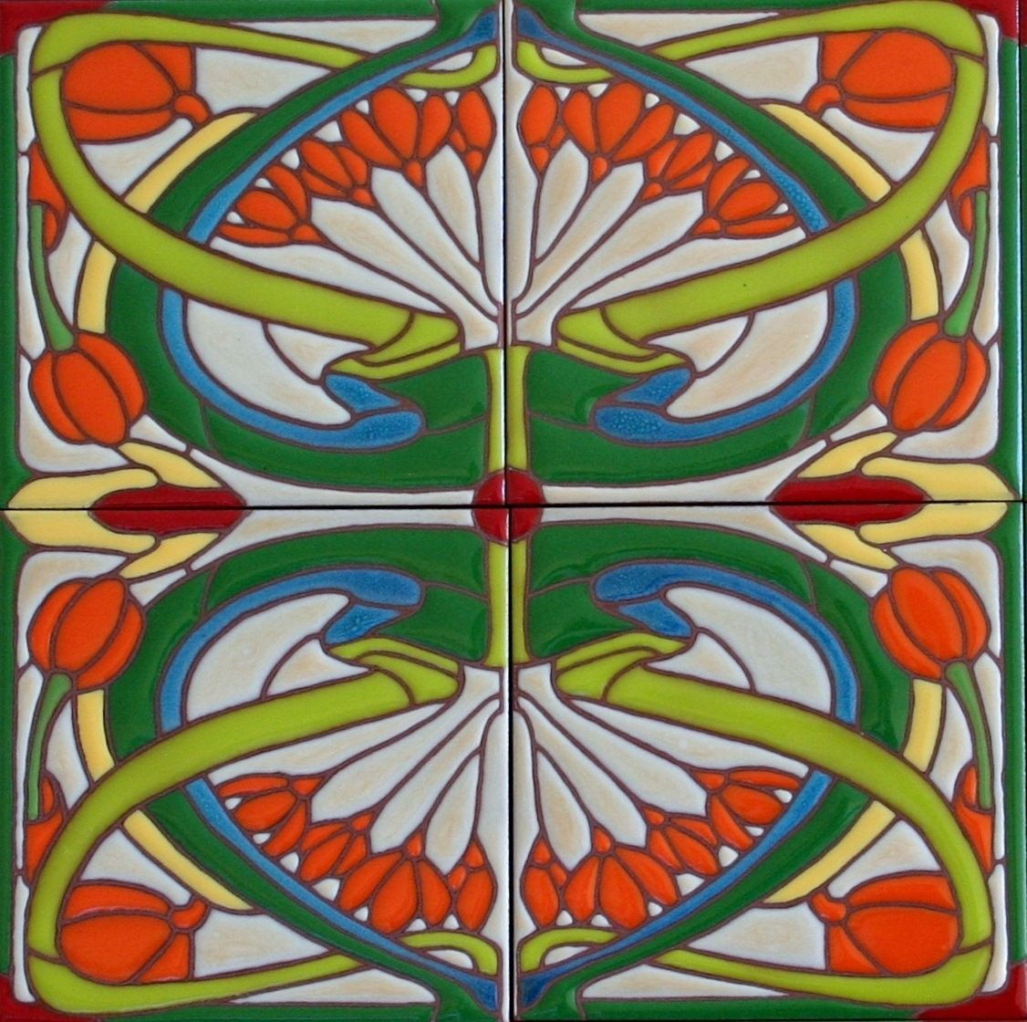 Hand made art nouveau tiles classic whiplash design by for Art deco tile mural