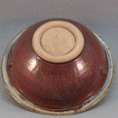 Custom Made Red Bowl With Beige Rim And Embellishment Stoneware